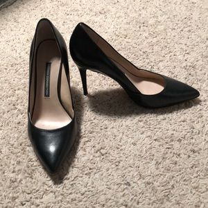 Black Leather French Connection Pumps